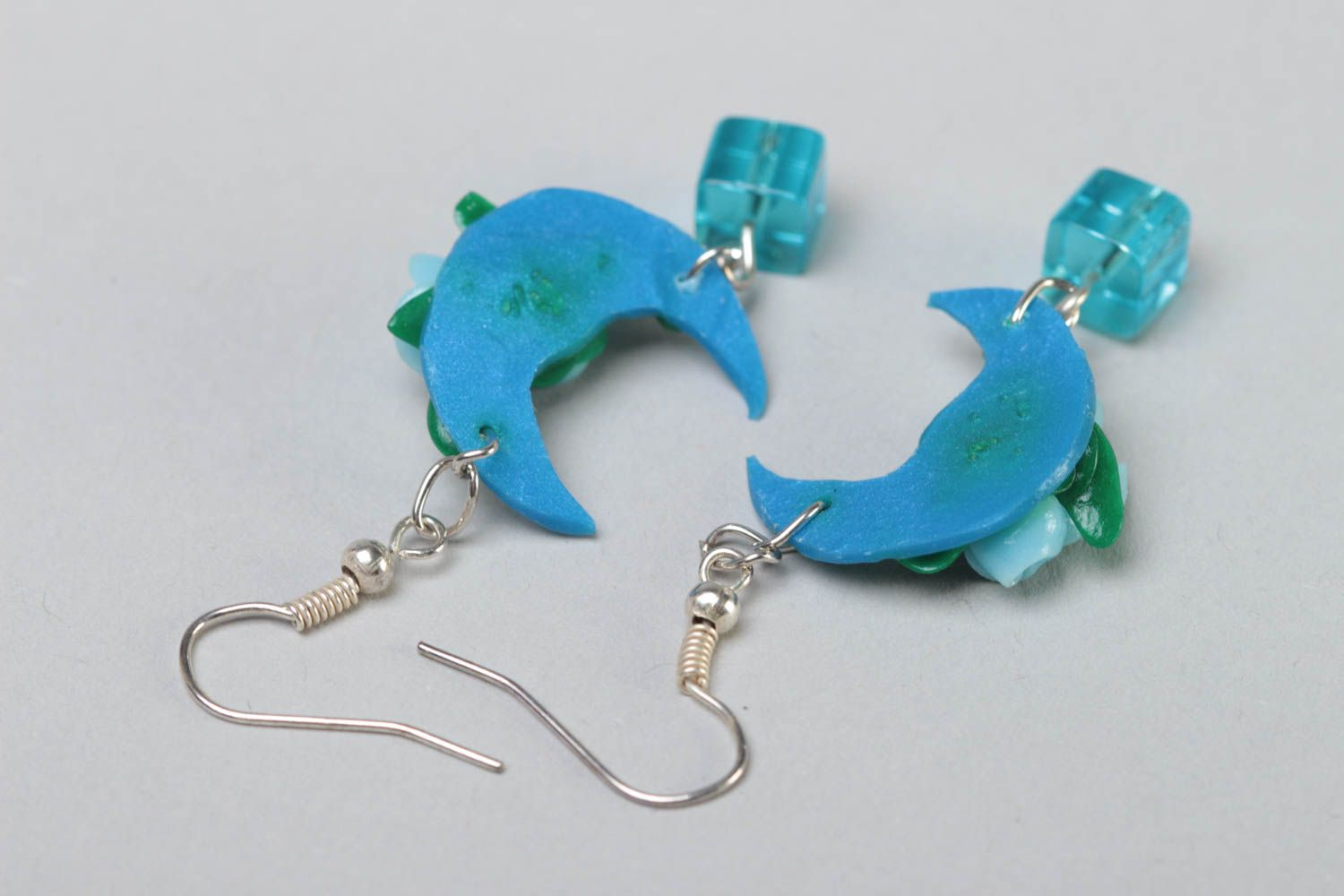 Handmade long polymer clay dangling earrings in blue color palette Moon Light photo 4