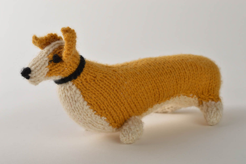 madeheart peluche chien welsh corgi jouet fait main tricot en laine cadeau pour enfant. Black Bedroom Furniture Sets. Home Design Ideas