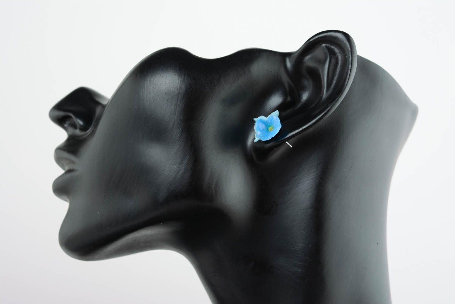 Polymer clay ear cuffs Forget-me-not flowers photo 1