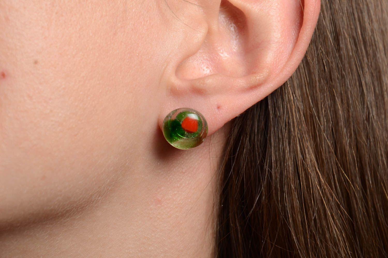 Beautiful stud earrings glass fusing technique handmade designer accessory photo 2