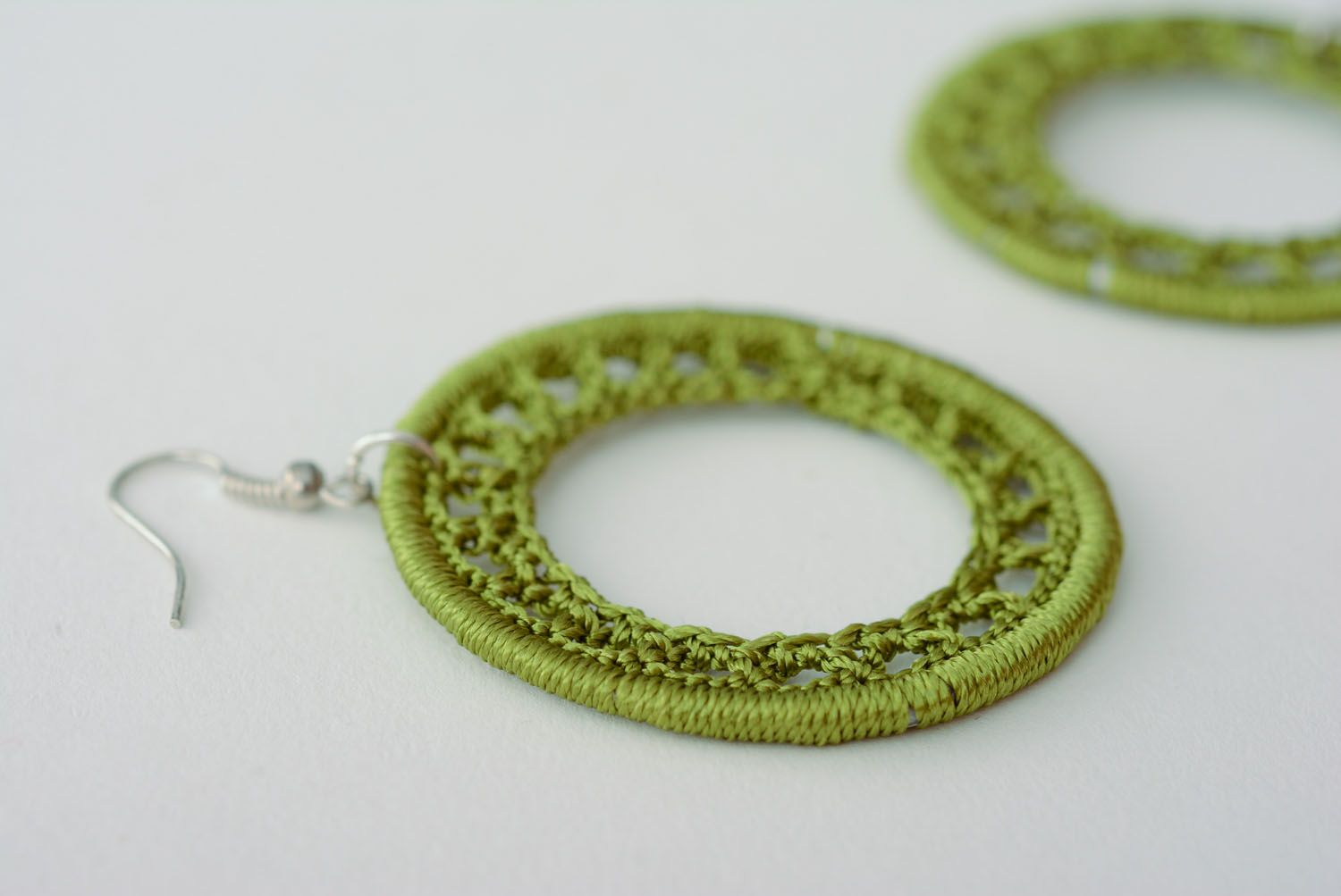 Homemade woven earrings photo 4