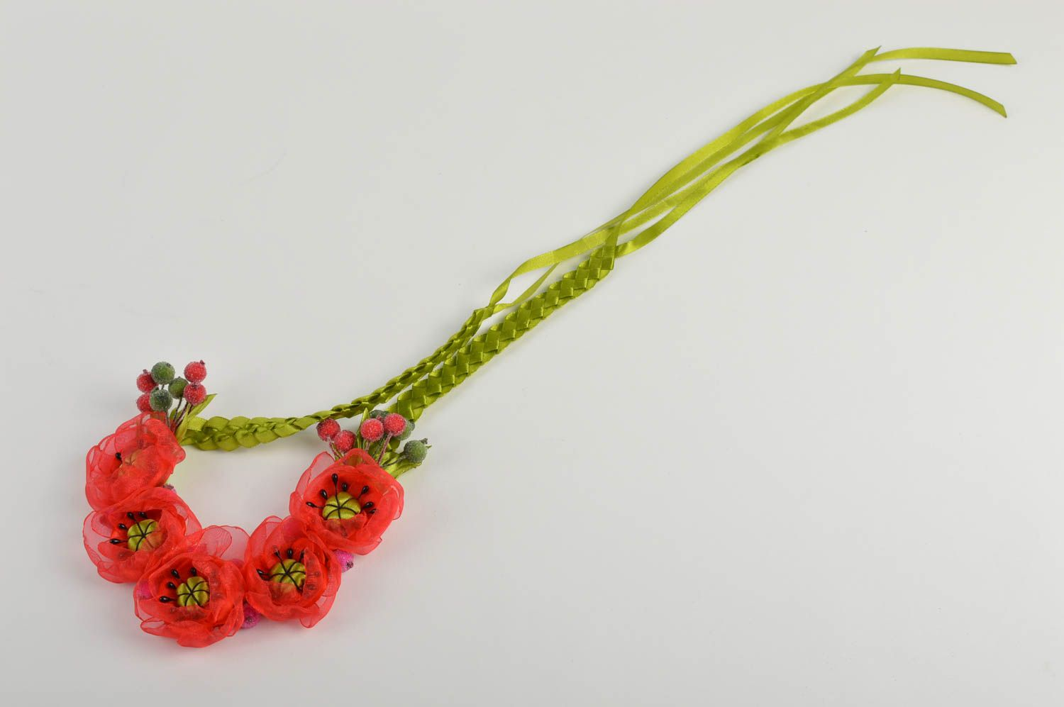 Unusual handmade textile necklace costume jewelry fashion accessories gift ideas photo 3