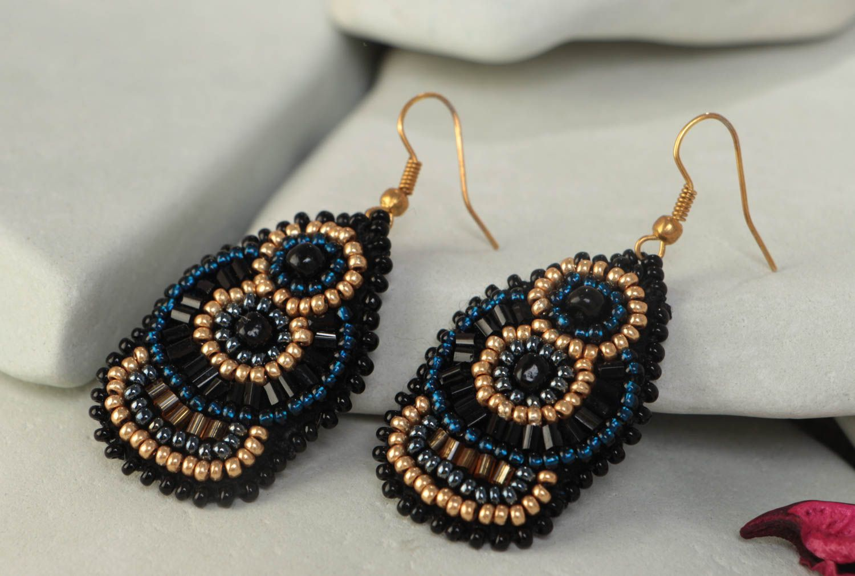 Large handmade designer woven beaded earrings on leather basis photo 1