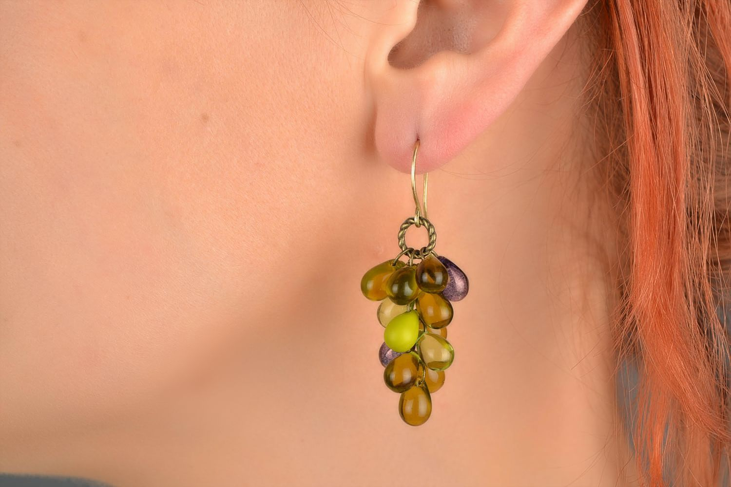 Handmade designer glass bead earrings in green color palette Bunches photo 1