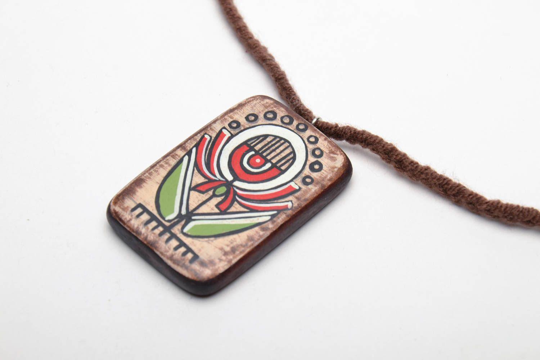 Rectangular wooden pendant in ethnic style photo 3