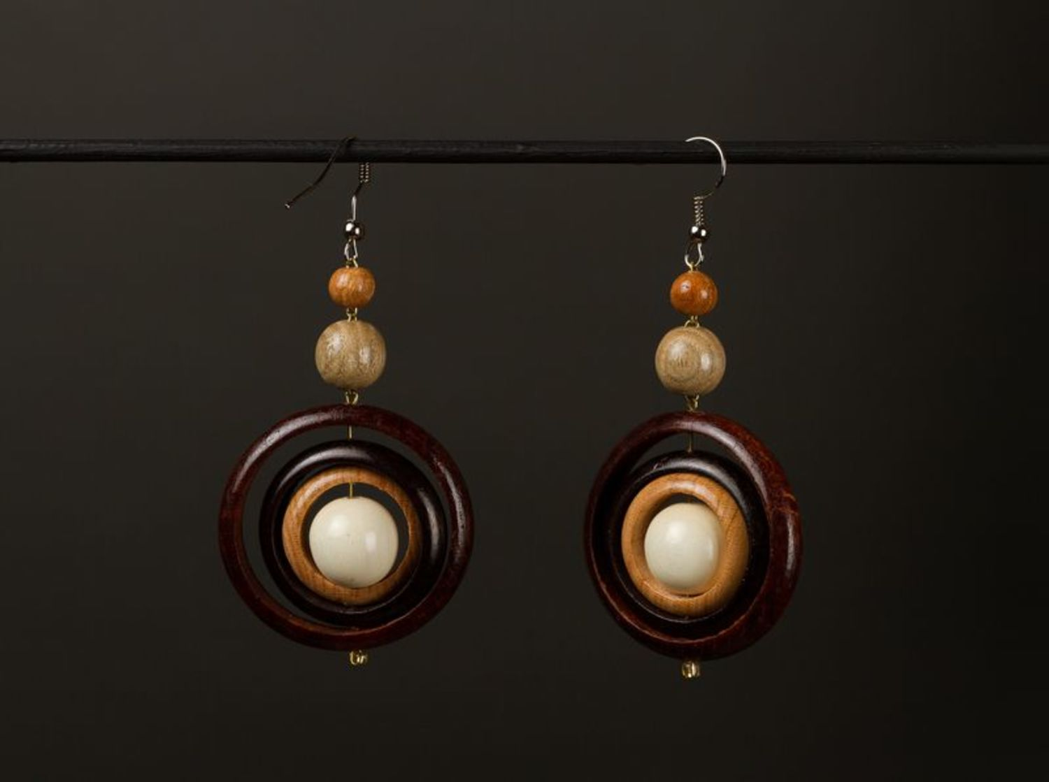 Wooden earrings photo 1