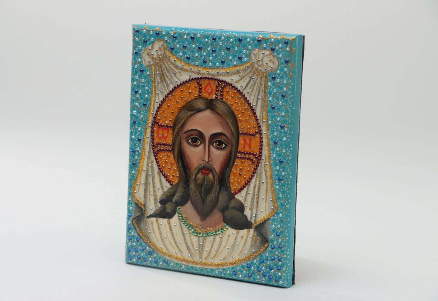 Handmade orthodox icon painted with gouache on wooden basis Christ of Edessa  photo 2