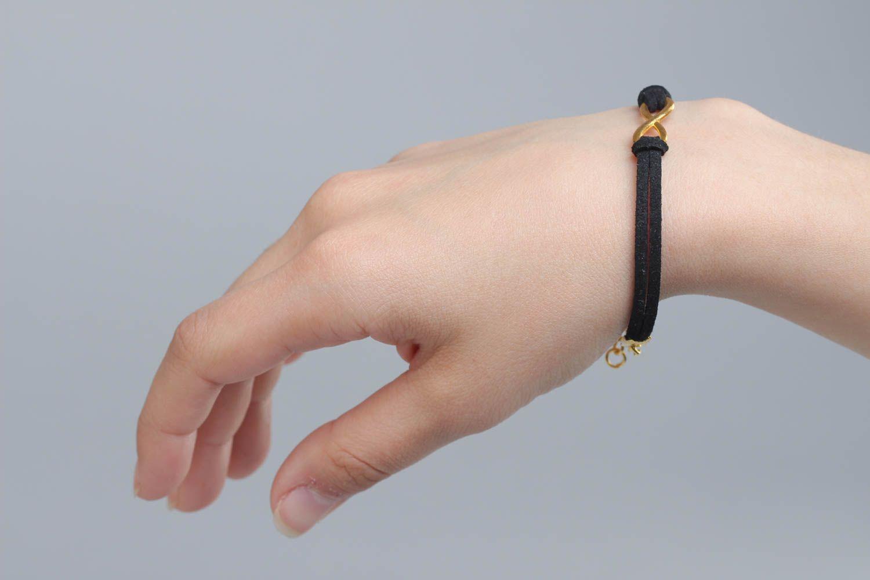 charm bracelets Beautiful festive handmade woven suede cord bracelet of black color with charm - MADEheart.com