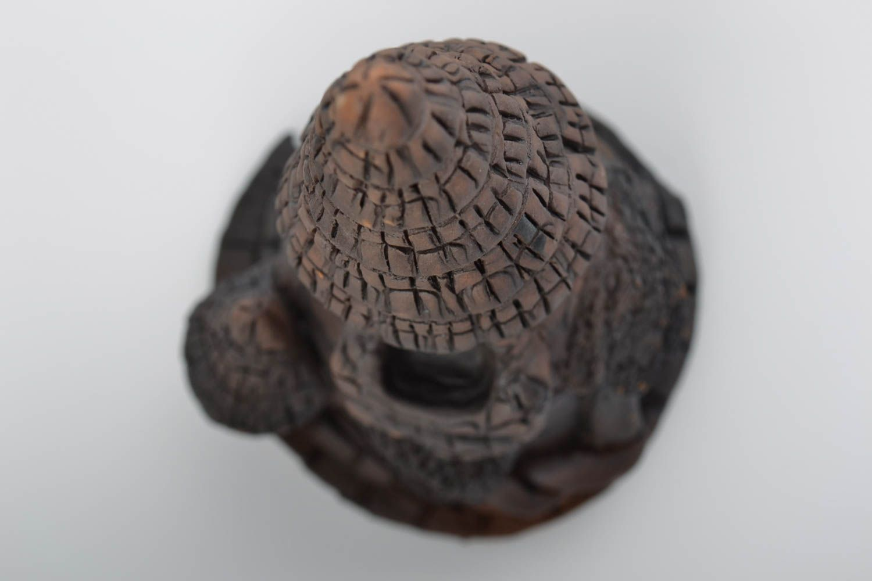 Unusual handmade dark molded clay aroma lamp Tall Tower interior decor photo 4