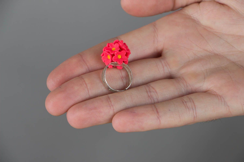 Кольцо из полимерной глины Розовые незабудки фото 4