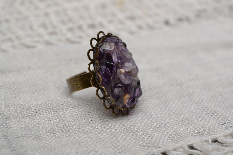 Metall Ring mit Amethyst foto 1