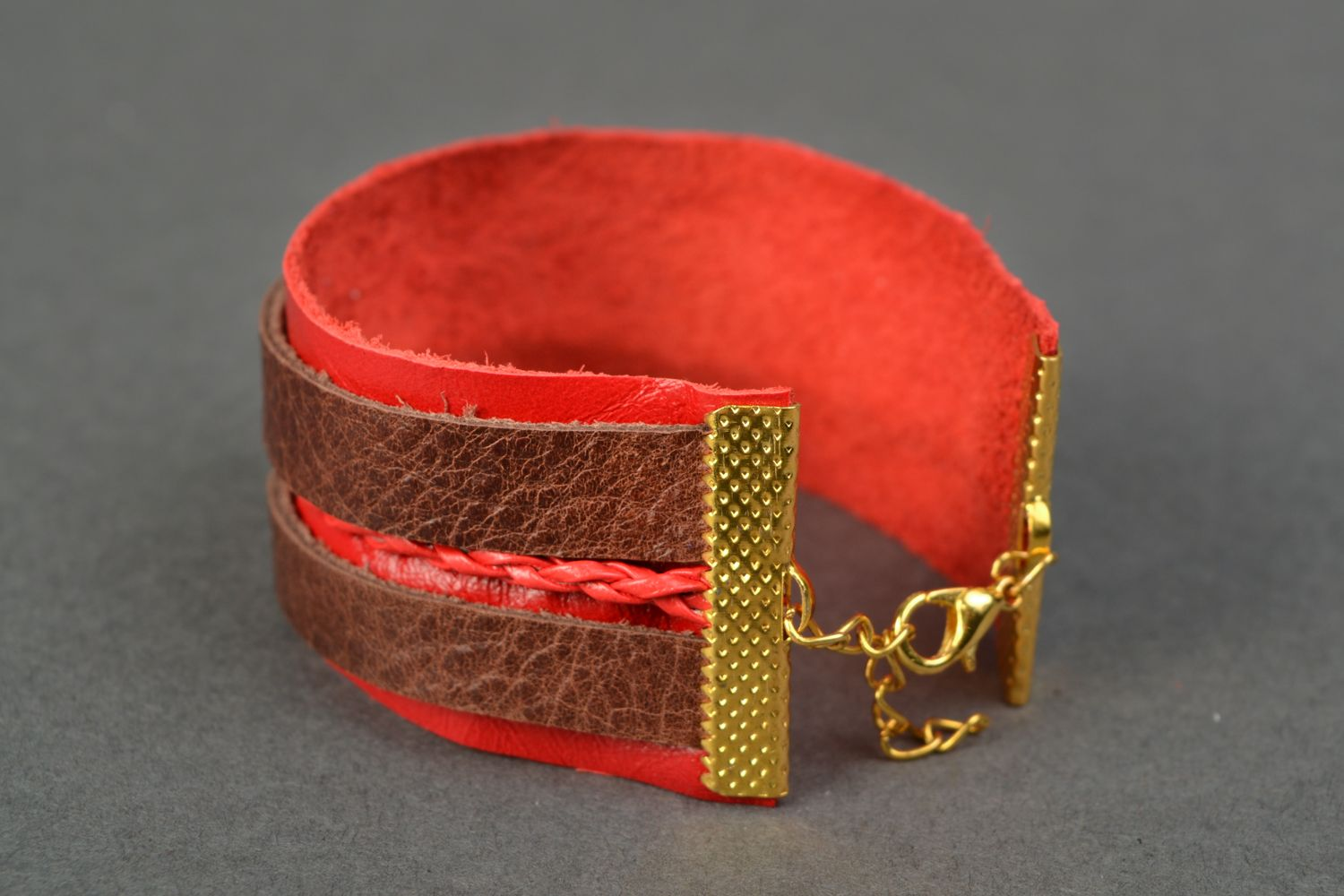 Red genuine leather bracelet photo 4