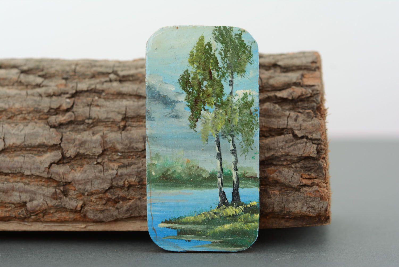 Wooden fridge magnet Birches photo 1