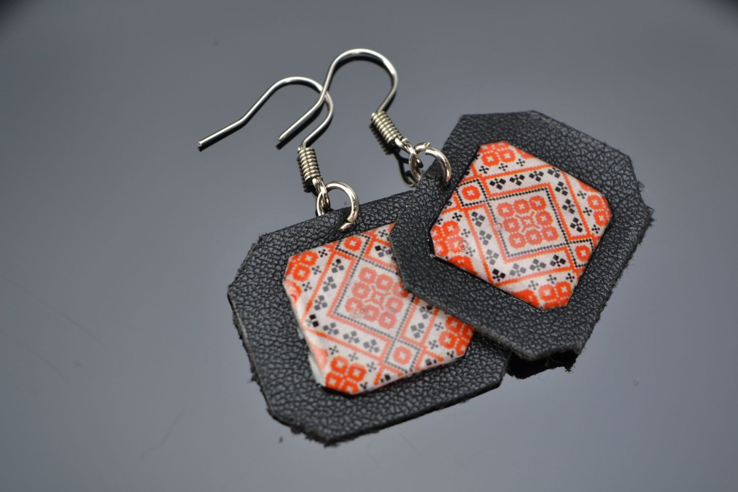 Unusual earrings Embroidery photo 1