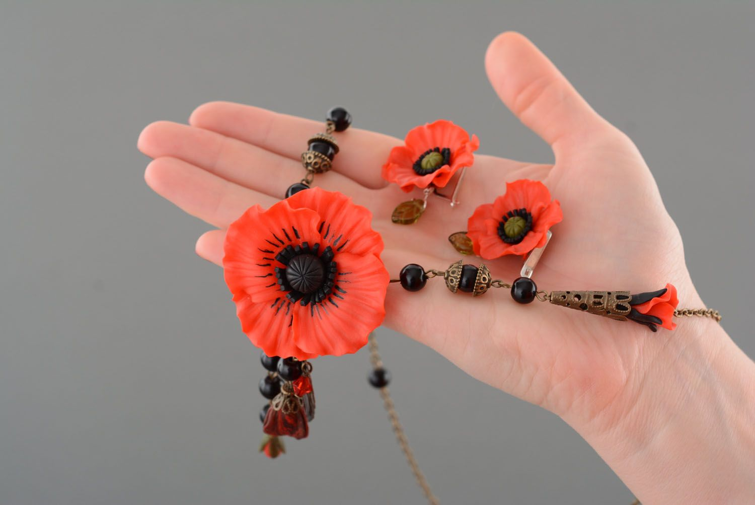 Polymer clay jewelry set Poppies photo 5