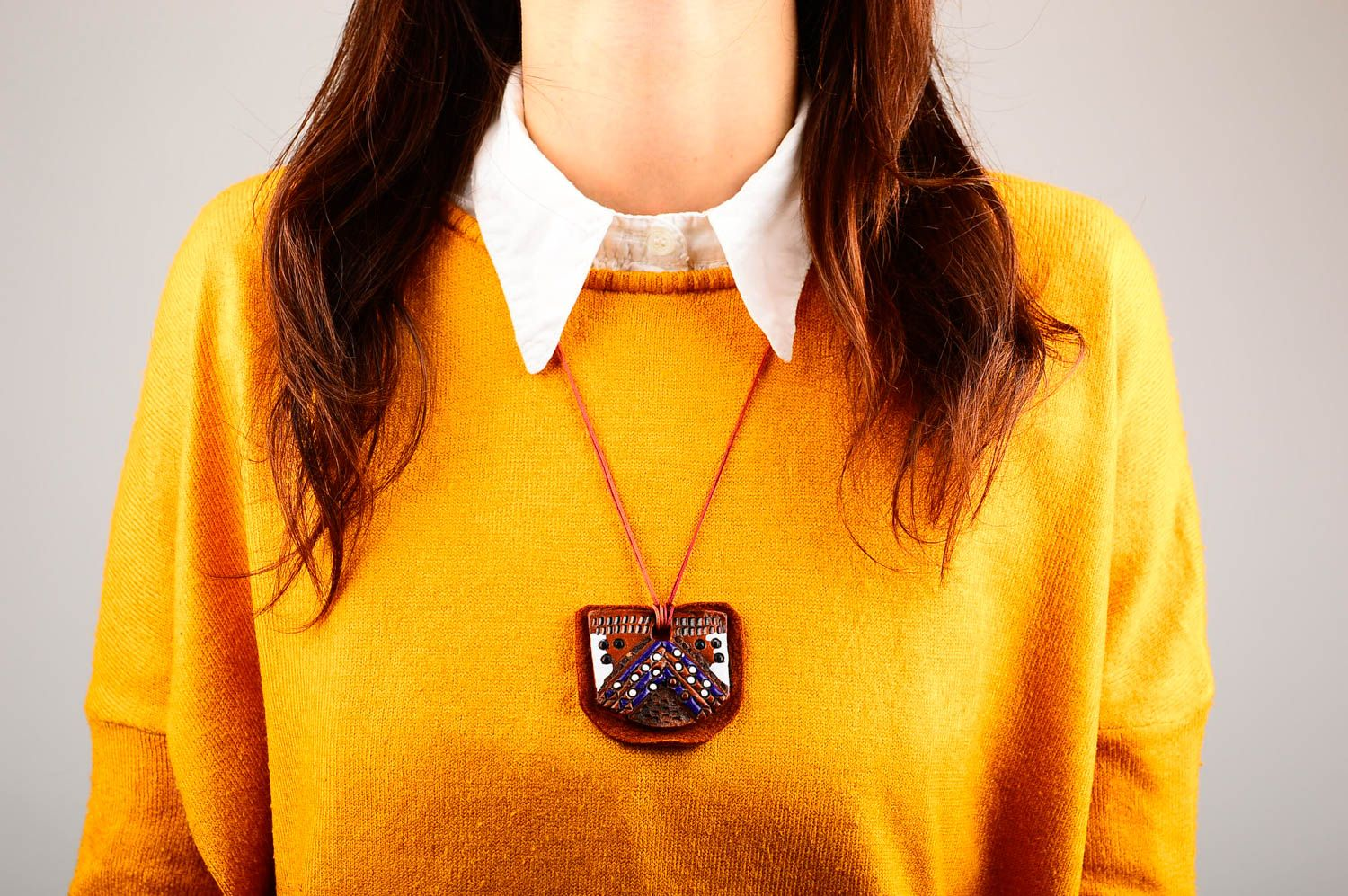Ceramic accessories handmade pendant bright yellow leather necklace leather cord photo 2