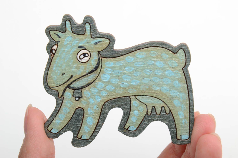 Bright handmade designer painted wooden fridge magnet for kids Goat photo 2