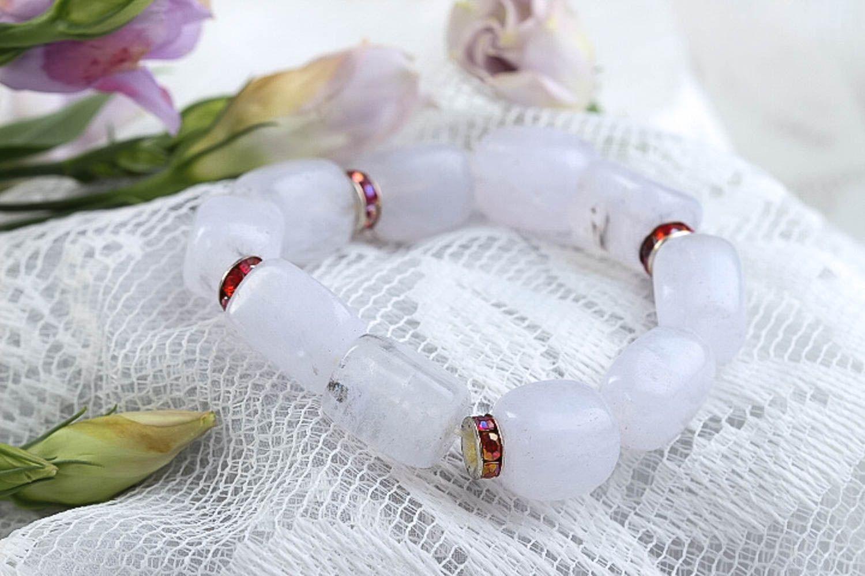 Quartz bracelet handmade woven bracelet fashion jewelry with natural stones photo 1