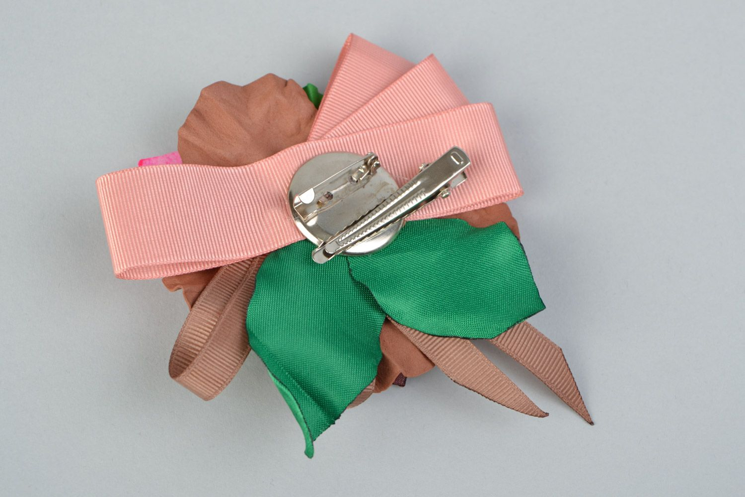 Handmade brown and green hair clip brooch with foamiran flowers and ribbon  photo 4