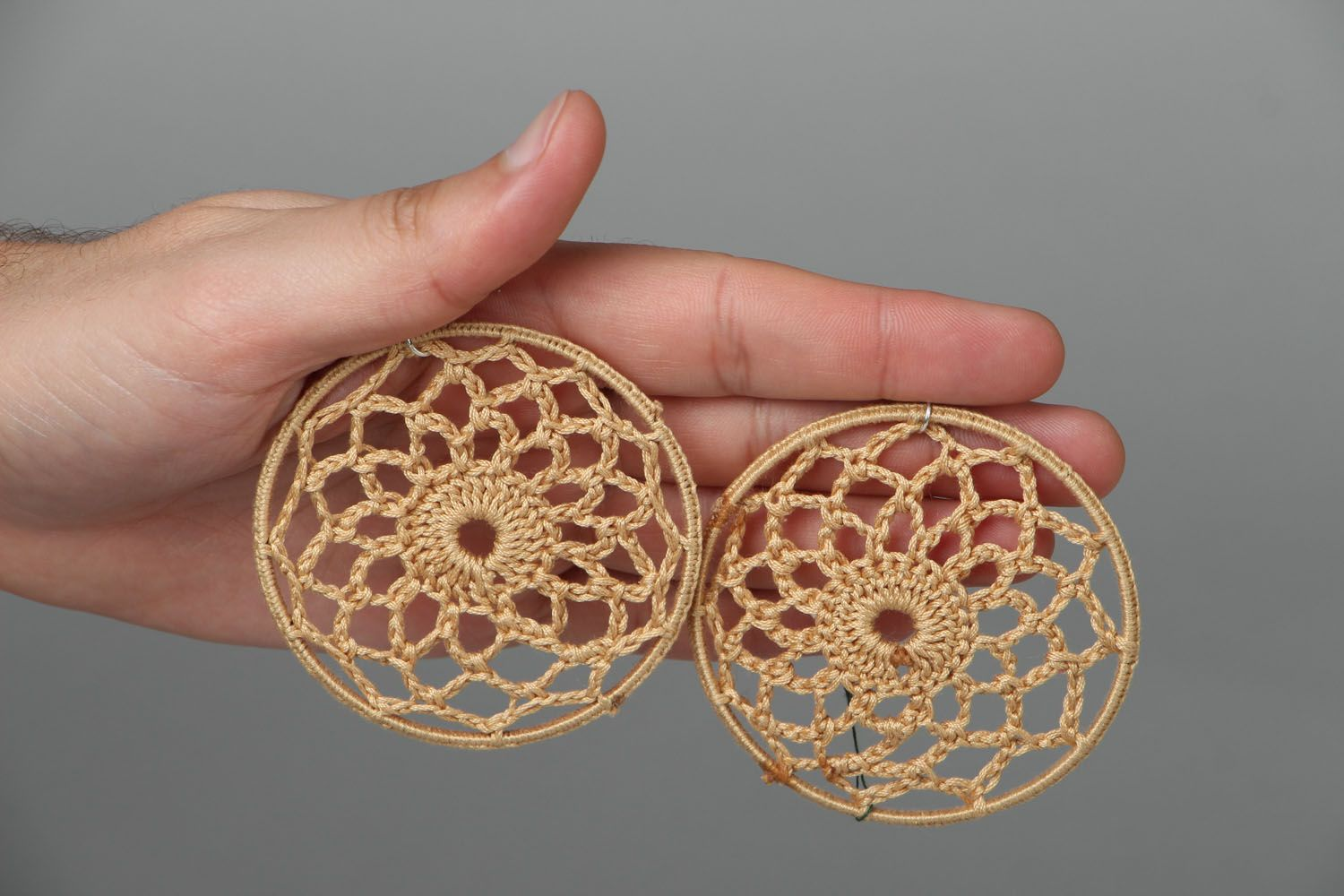 Round lacy earrings photo 3