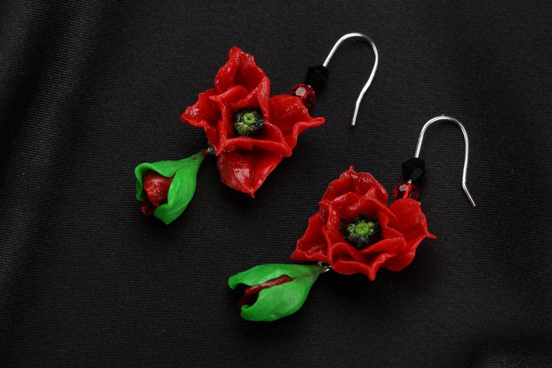 Серьги в виде маковых цветков фото 1