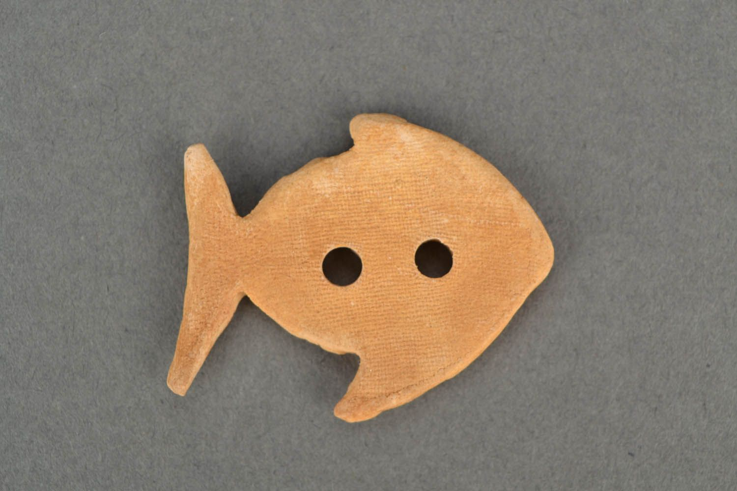 Handmade clay button in the shape of fish photo 5