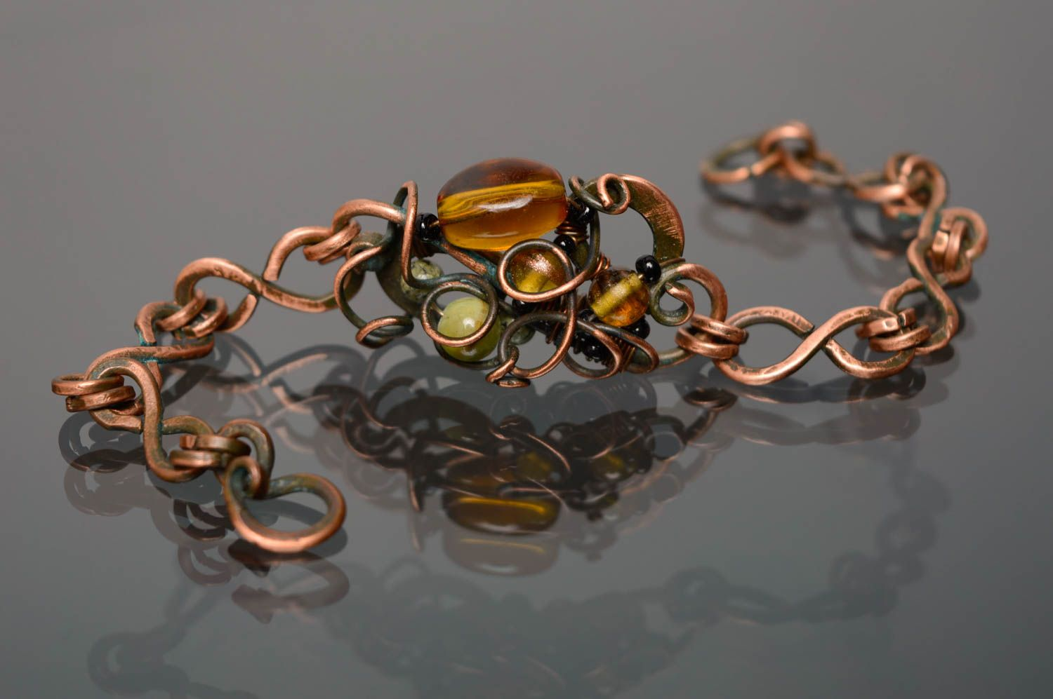 Wire wrap copper bracelet photo 2