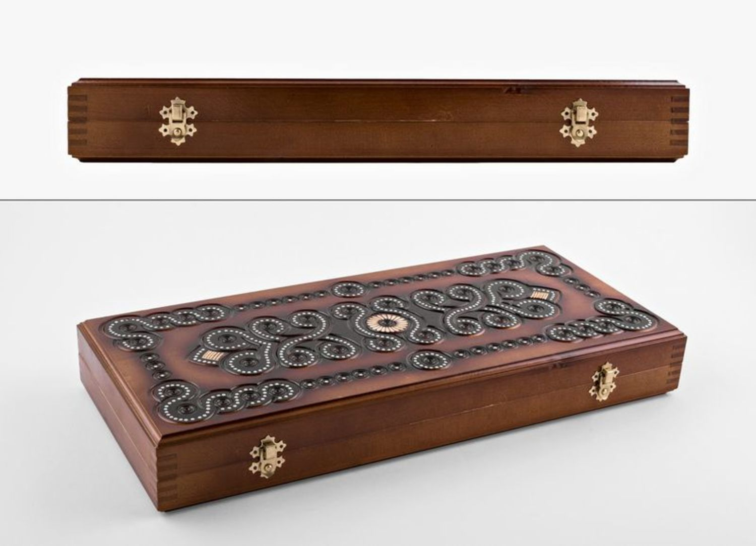 Wooden carved backgammon photo 2