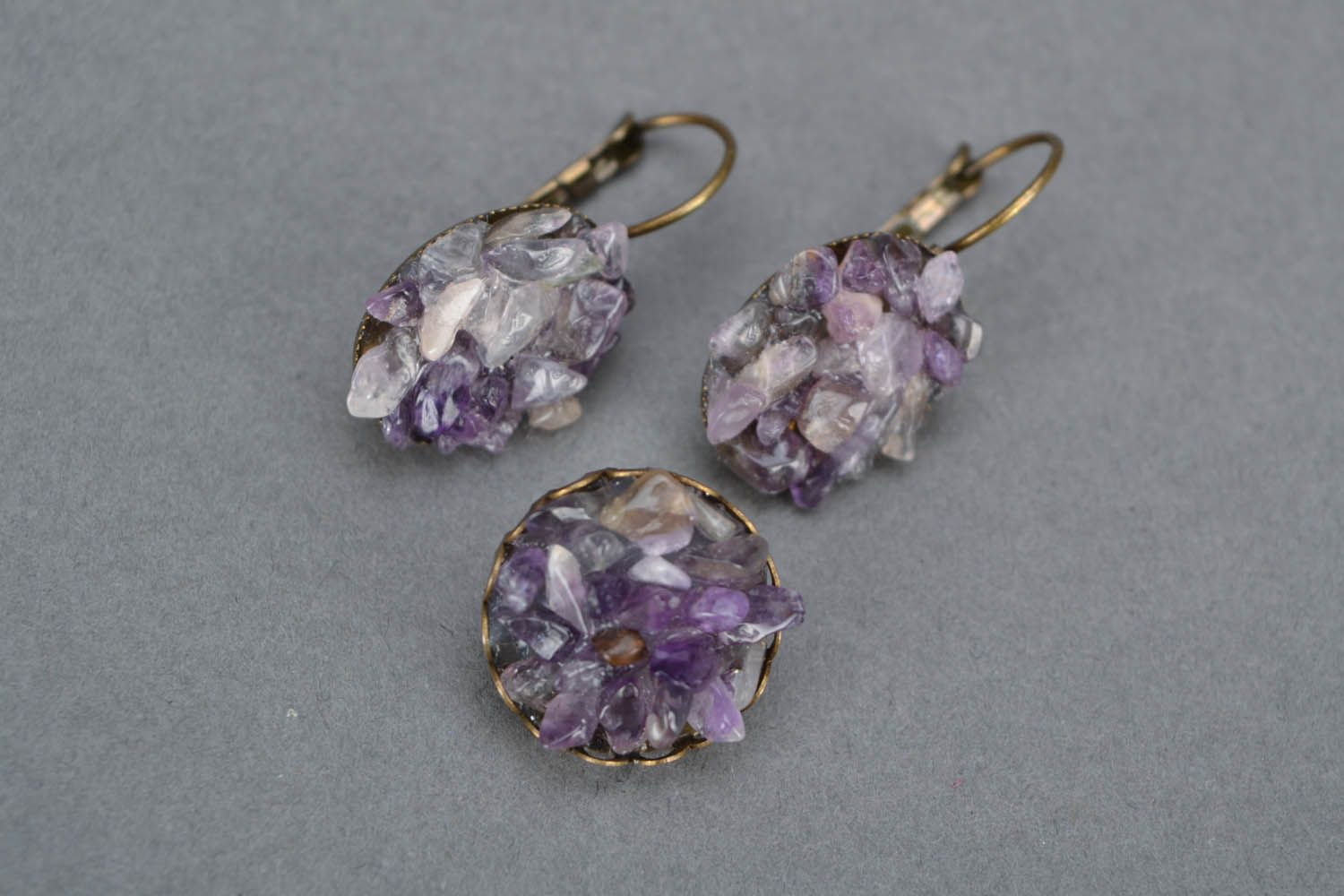 Earrings and a brooch with amethyst photo 4