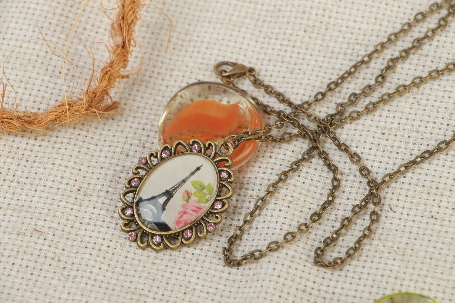 Handcrafted vintage necklace on a long chain with a pendal made of glass glaze photo 1