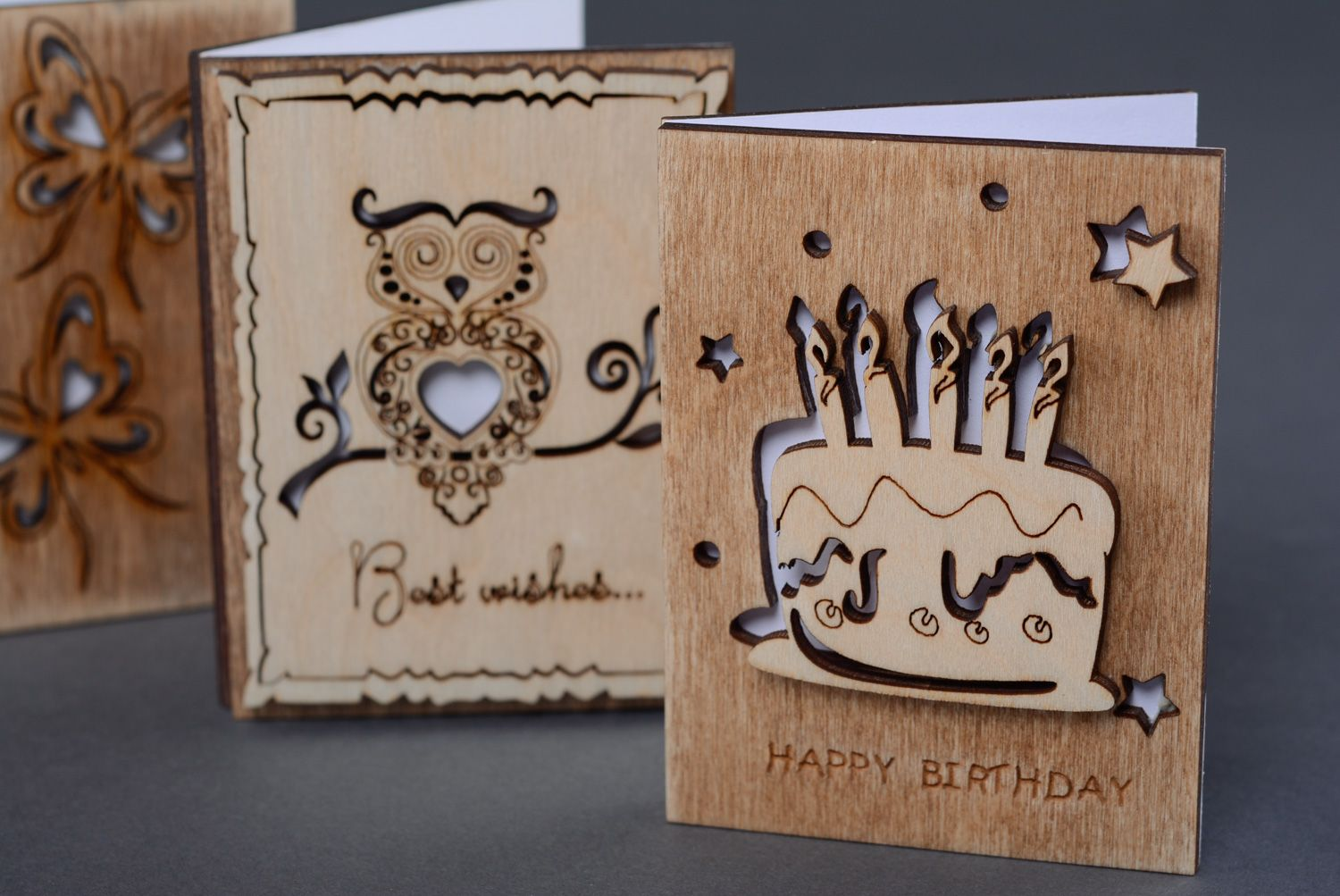 Plywood greeting card with cake photo 5