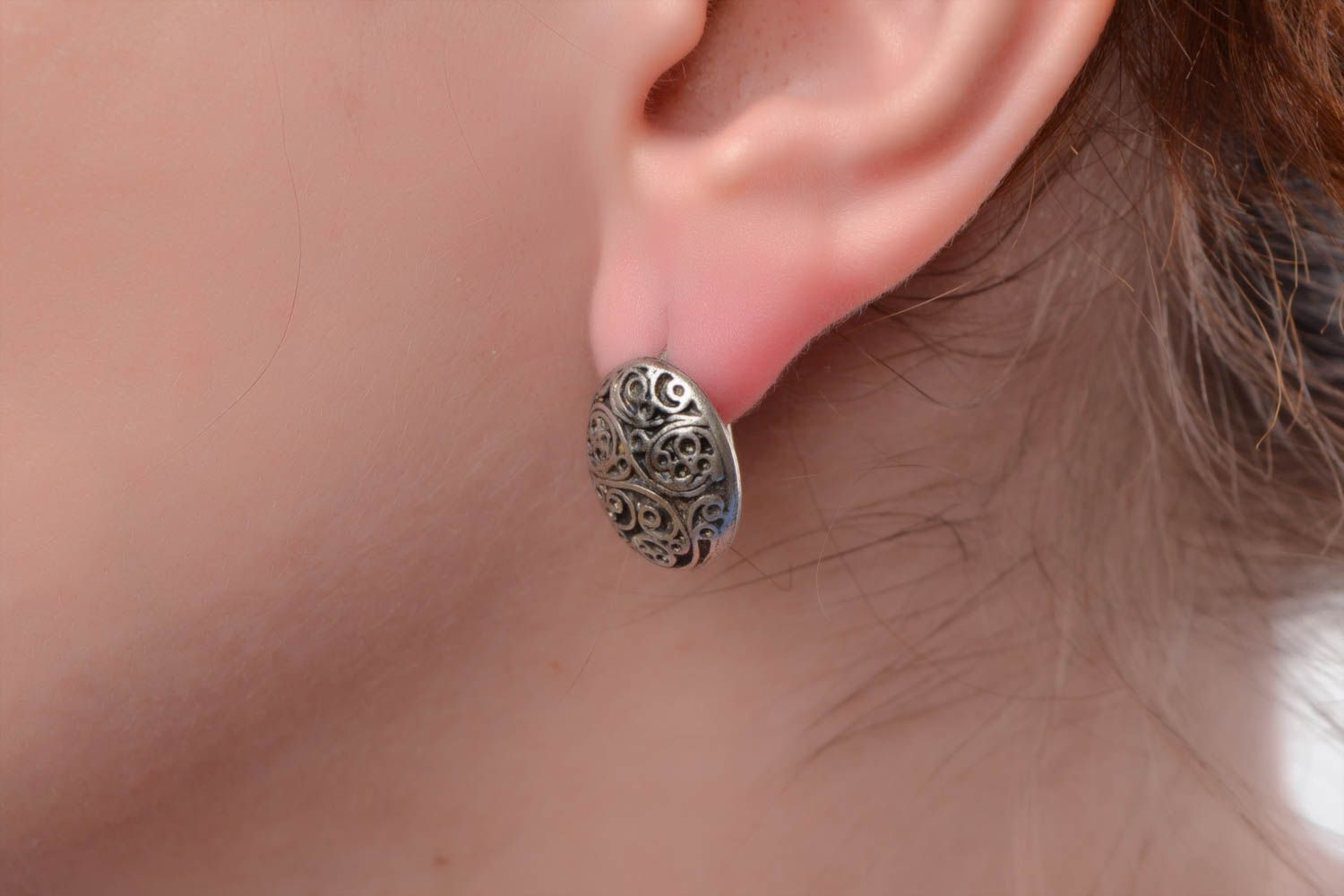 Handmade neat oval ornamented stud earrings cast of hypoallergenic metal alloy  photo 1