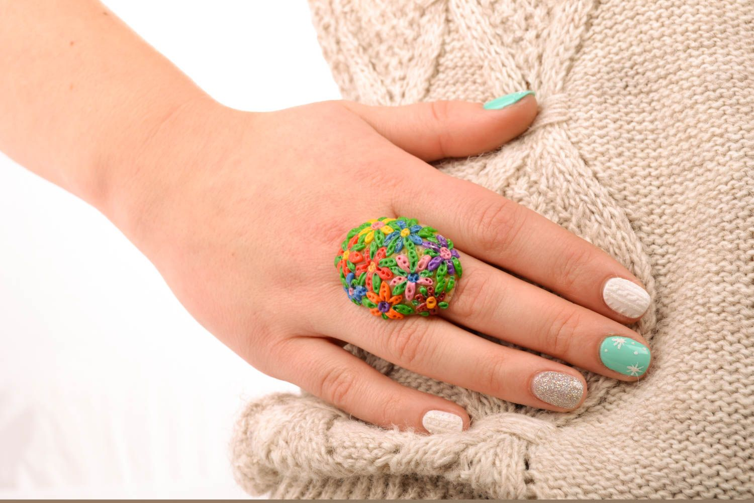 Floral polymer clay ring photo 5