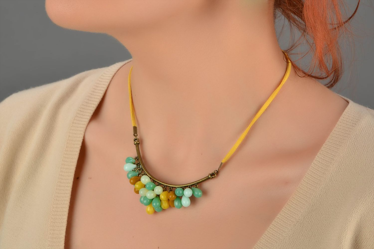Beautiful women's handmade designer suede cord necklace with Czech glass beads photo 4