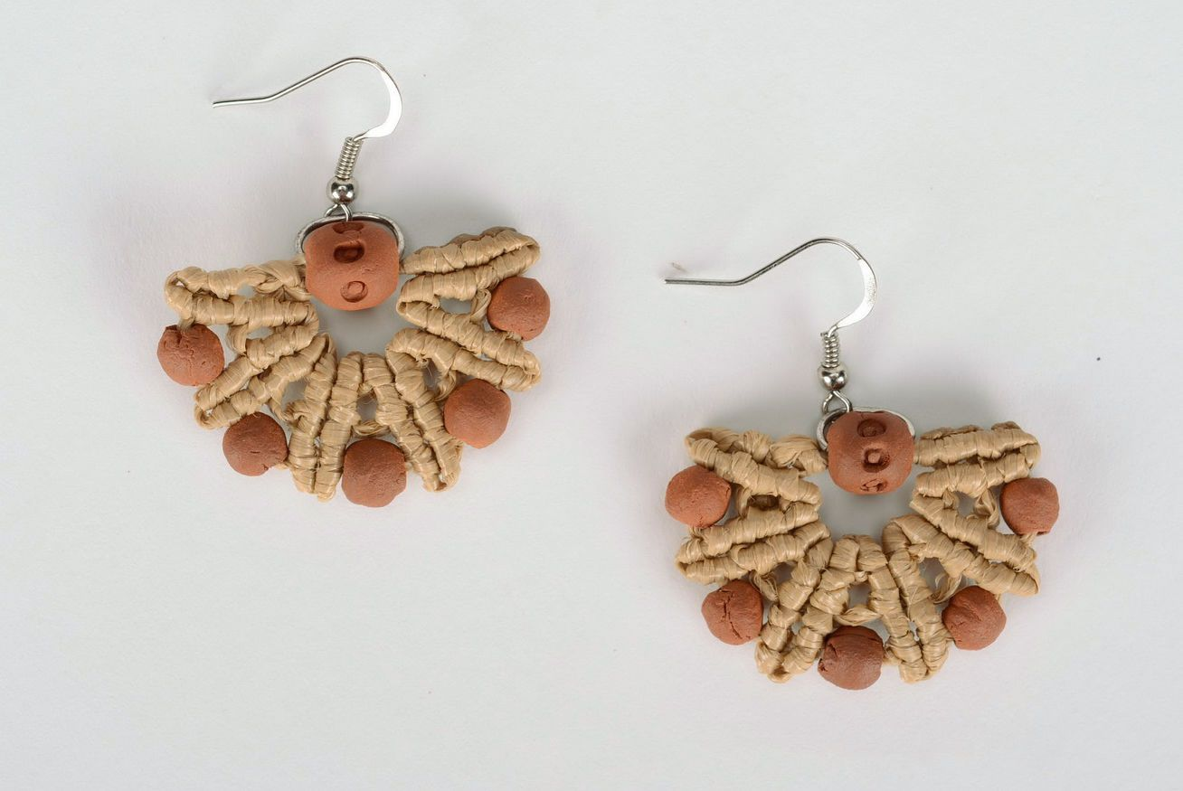Earrings made of red clay photo 4