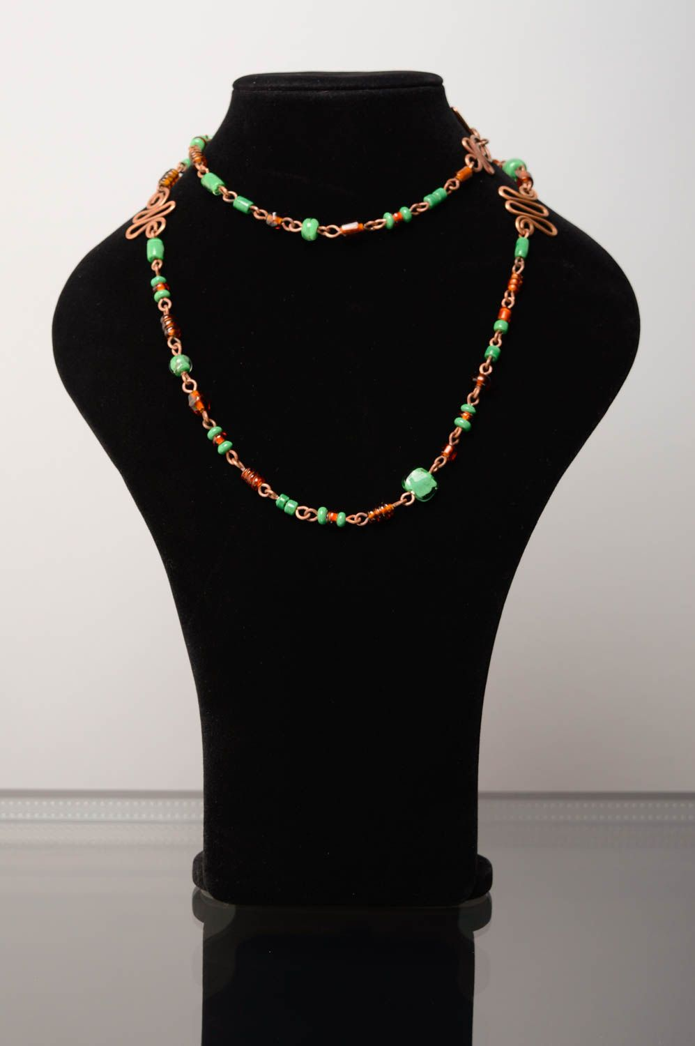 Wire wrap necklace-belt with designer lampwork beads Miria photo 3