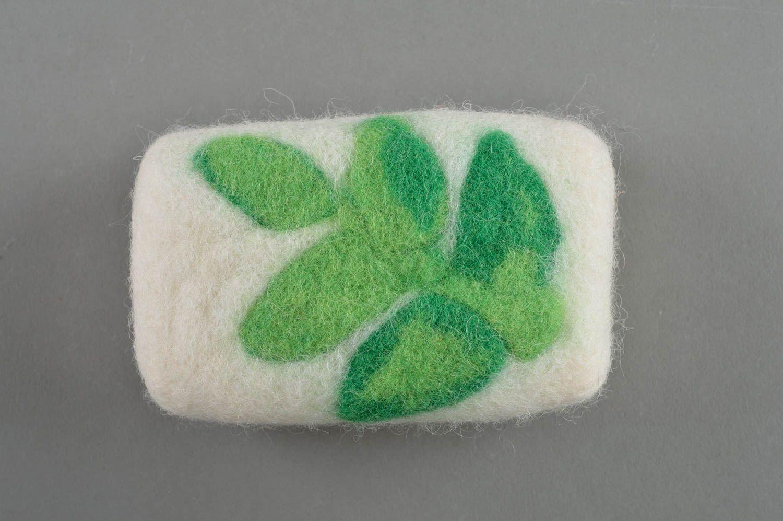 Beautiful homemade designer unusual white felted wool bath sponge soap box photo 2