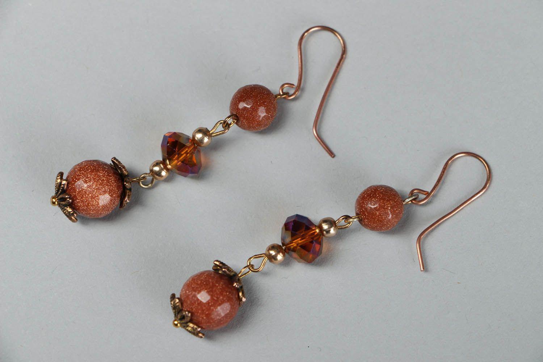 Dangle earrings with aventurine photo 1