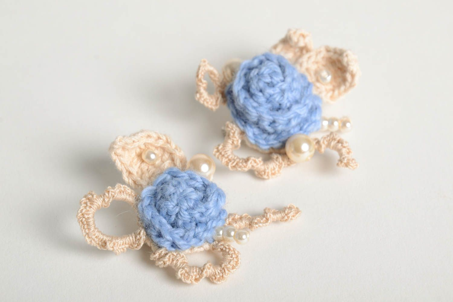 Fabric brooch handmade crocheted brooch textile brooches fashion accessories photo 2