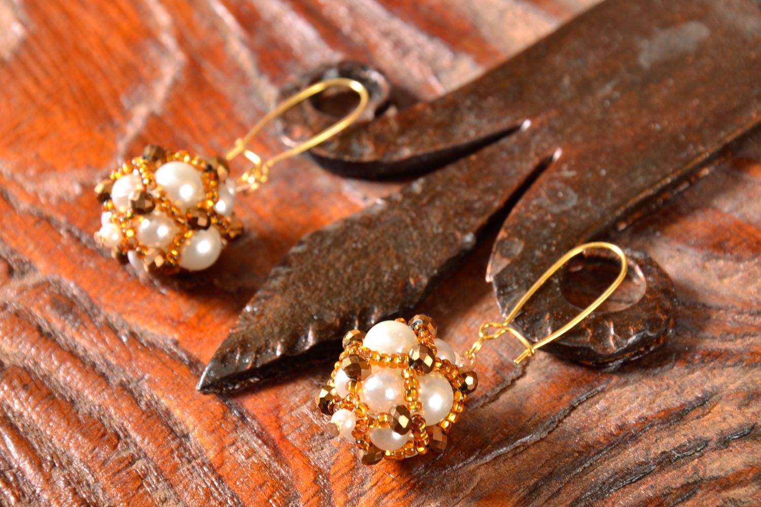 Unusual earrings with charms Golden East photo 1