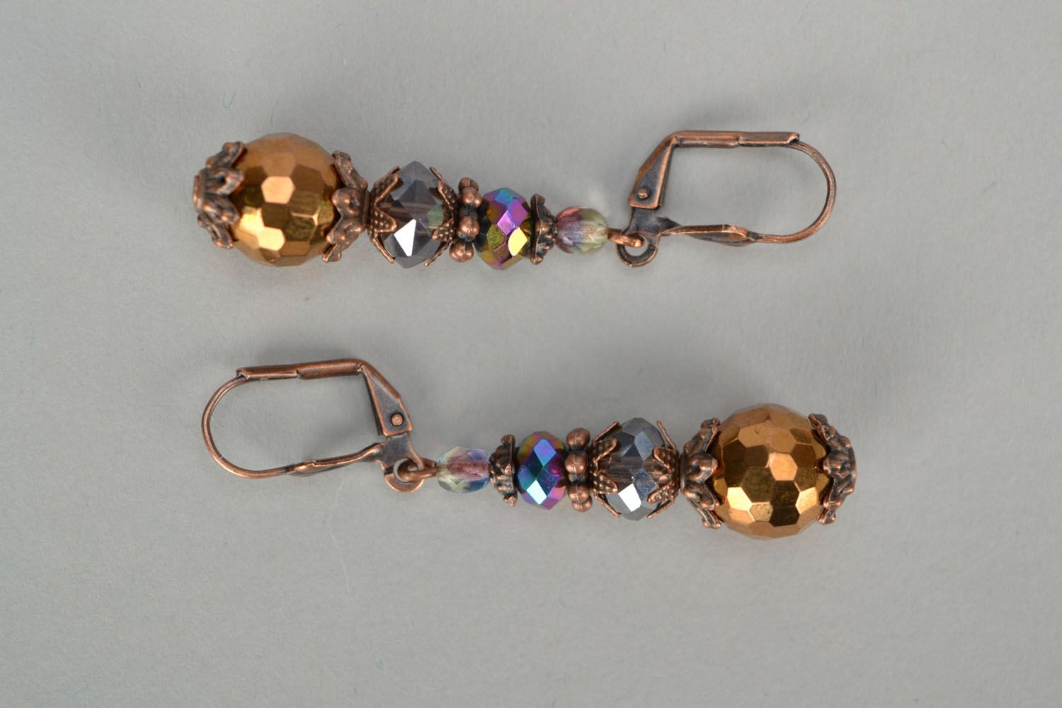 Crystal and glass earrings photo 5