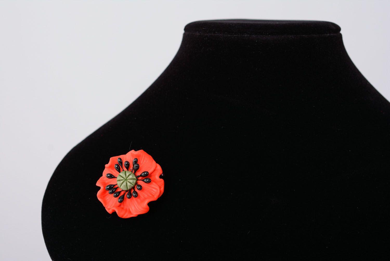 Blumen Brosche aus Polymerton foto 3