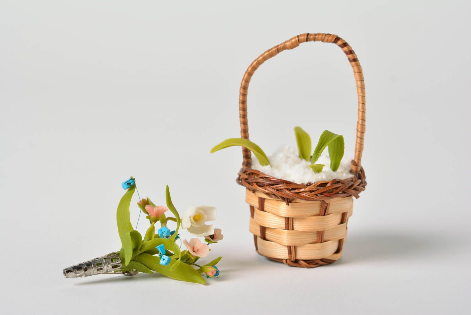 Handmade polymer clay designer floral brooch in tiny decorative basket  photo 2