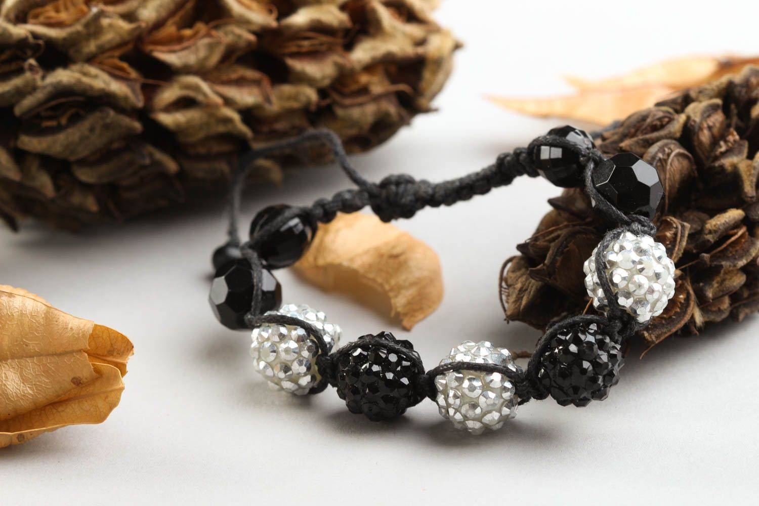 Stylish handmade beaded bracelet woven cord bracelet with beads small gifts photo 2