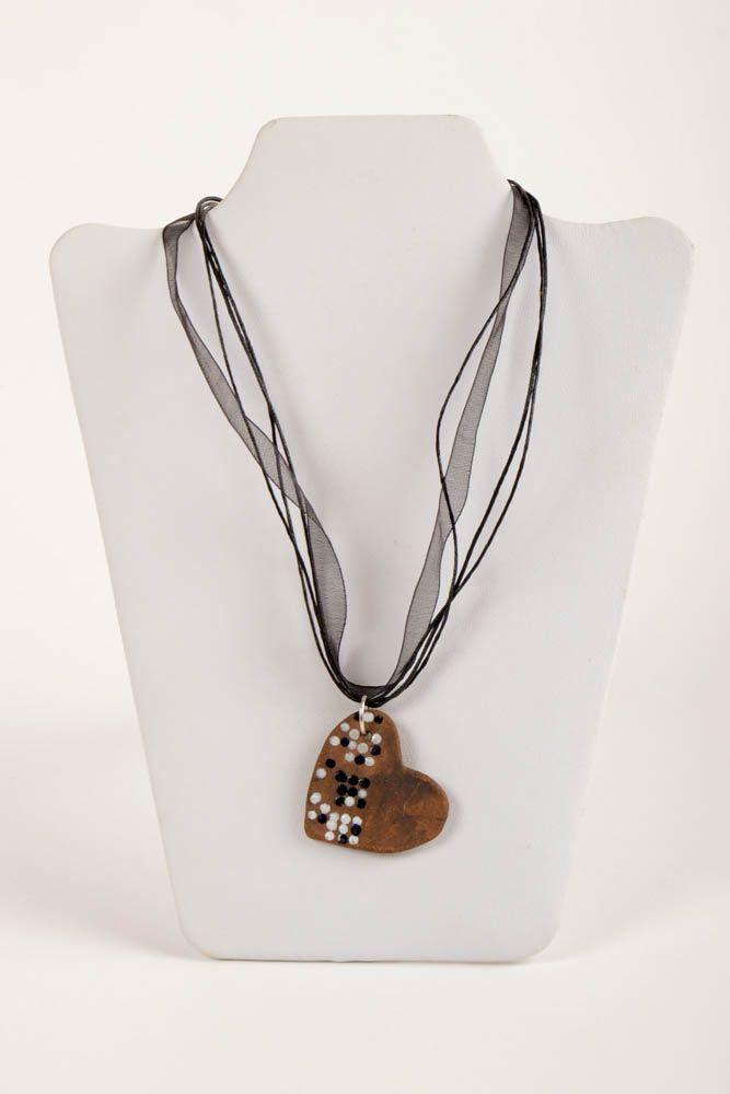 Кулон ручной работы керамическое украшение с росписью украшение на шею Сердце фото 2