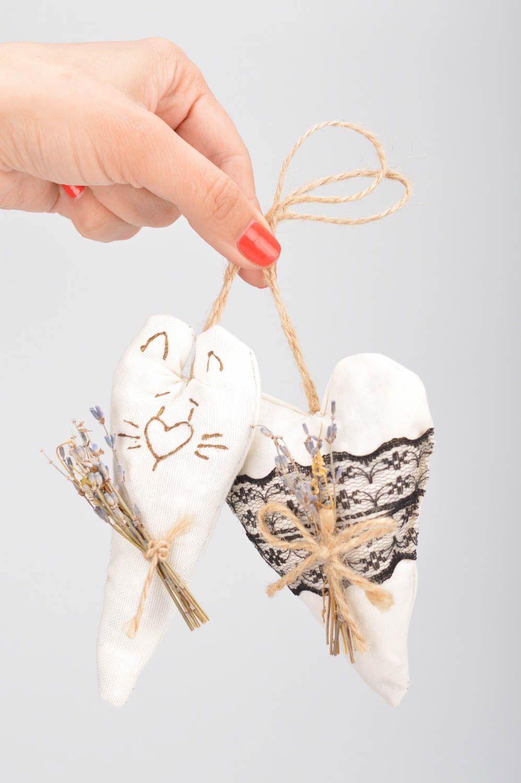 Set of 2 handmade decorative heart shaped fabric wall hanging sachet pillows  photo 3