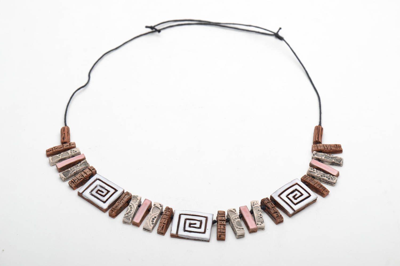 Unusual ceramic bead necklace photo 4