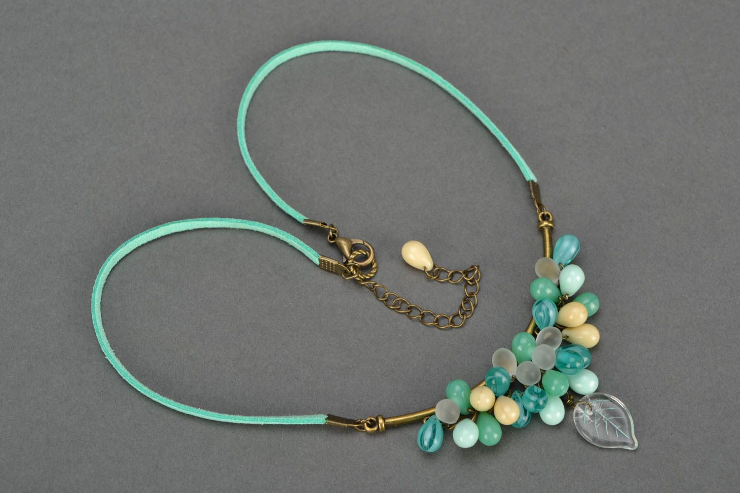 Beautiful homemade suede cord necklace with glass beads unusual design photo 4