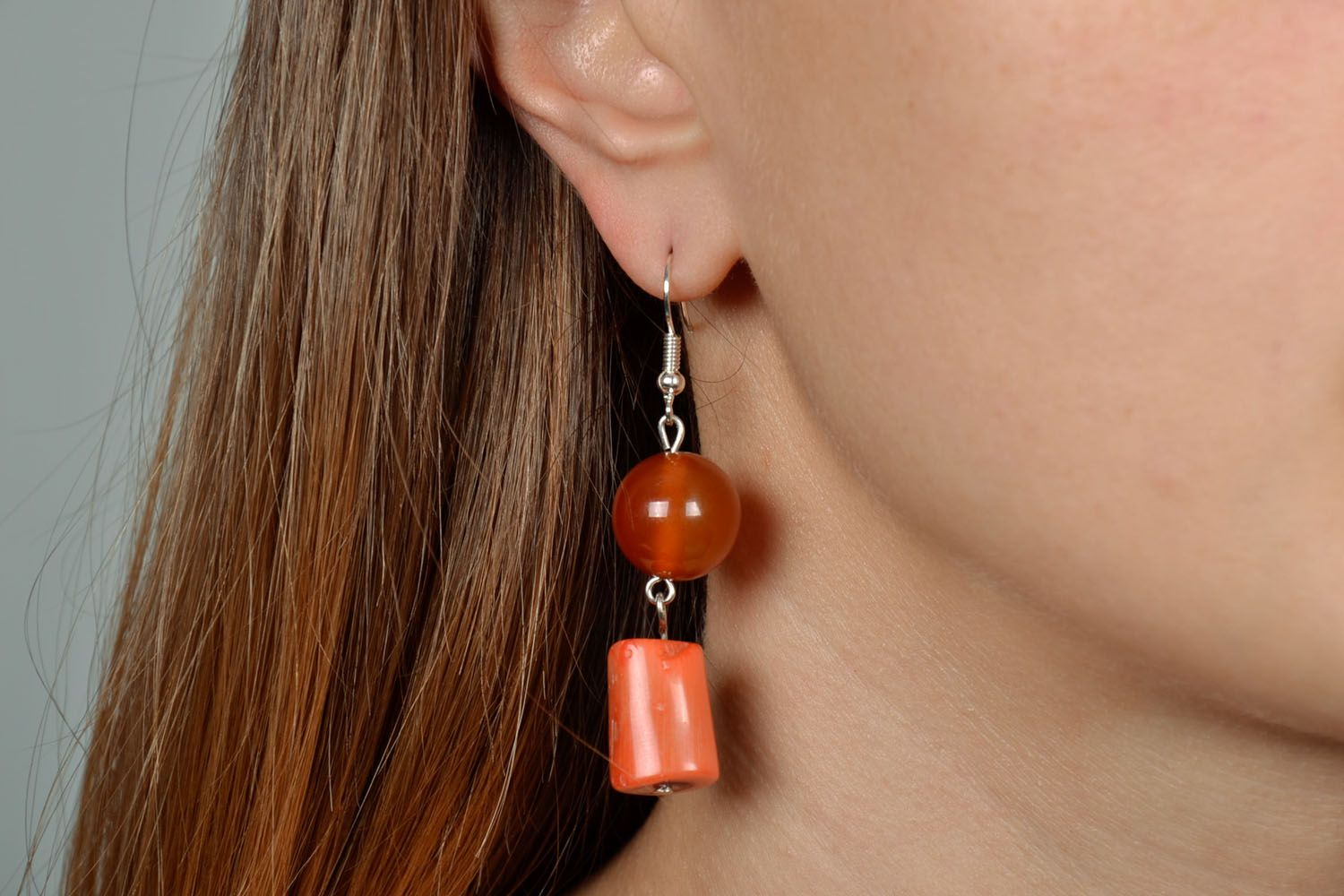 Earrings with coral and carnelian photo 5