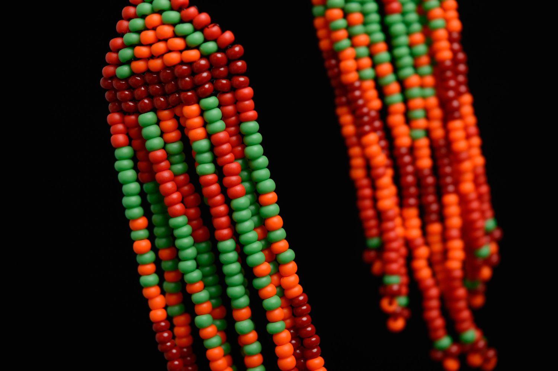 Handmade long beaded earrings  photo 2